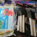 baby wipes and paint brushes